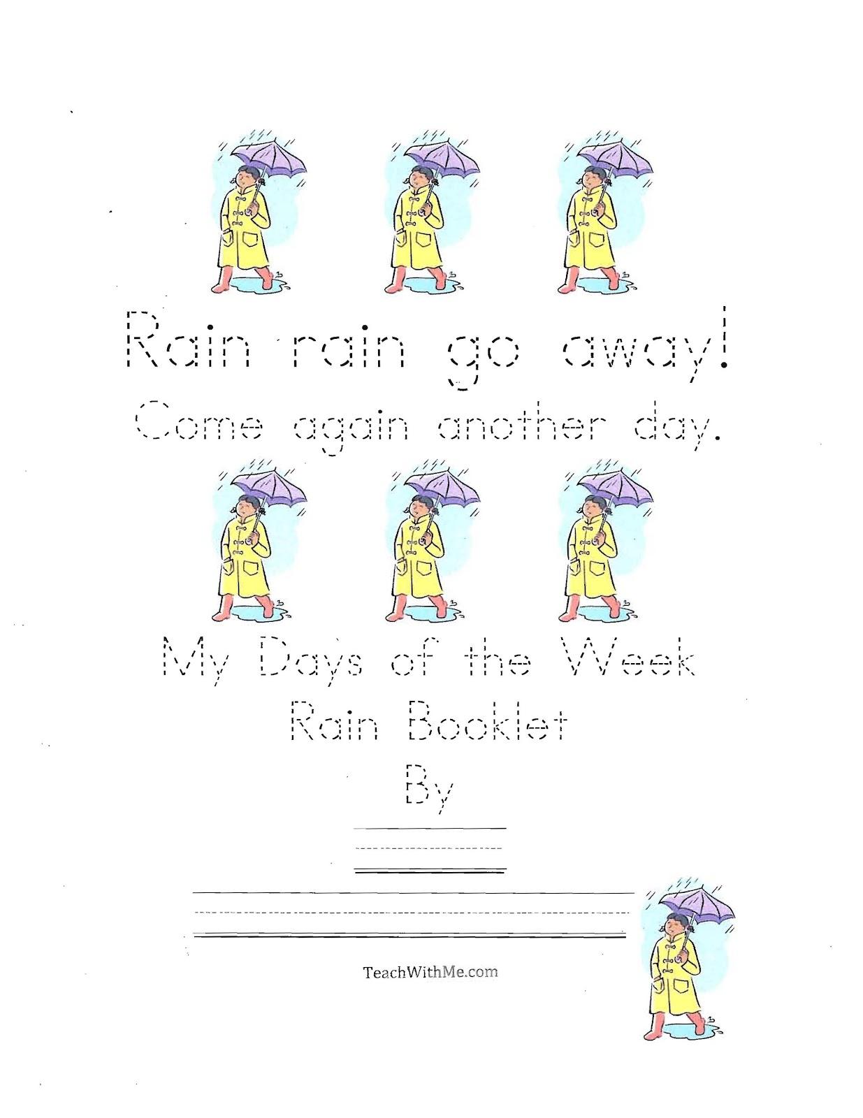 Classroom Freebies Rain Rain Go Away Easy Reader Booklet