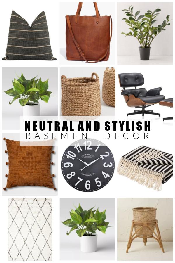 Neutral and stylish basement decor