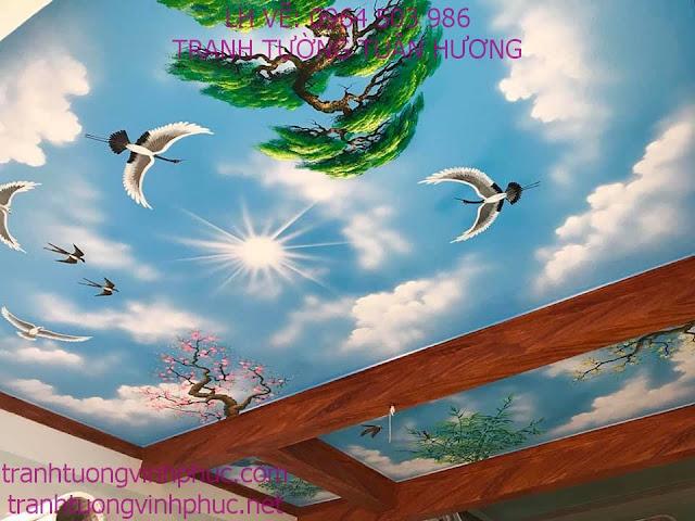 vẽ trần mây 3d tại vĩnh phượng bình xuyên vĩnh phúc2