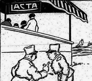 Propaganda do chocolate Lacta com discriminação social em 1919.
