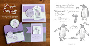 Stampin' Up! Playful Penguin Card Kit  ~ 2019 Holiday Catalog ~ Stamp of the Month Club Card Kit ~ www.juliedavison.com