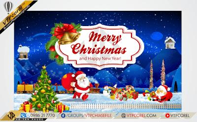 Phông nền giáng sinh - Merry Christmas - Ông già noel phát quà