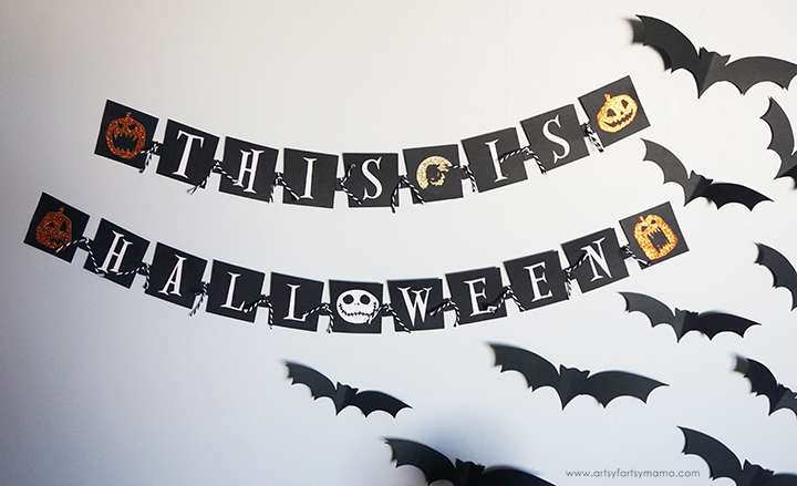 Nightmare Before Christmas Banner and Flying Bats