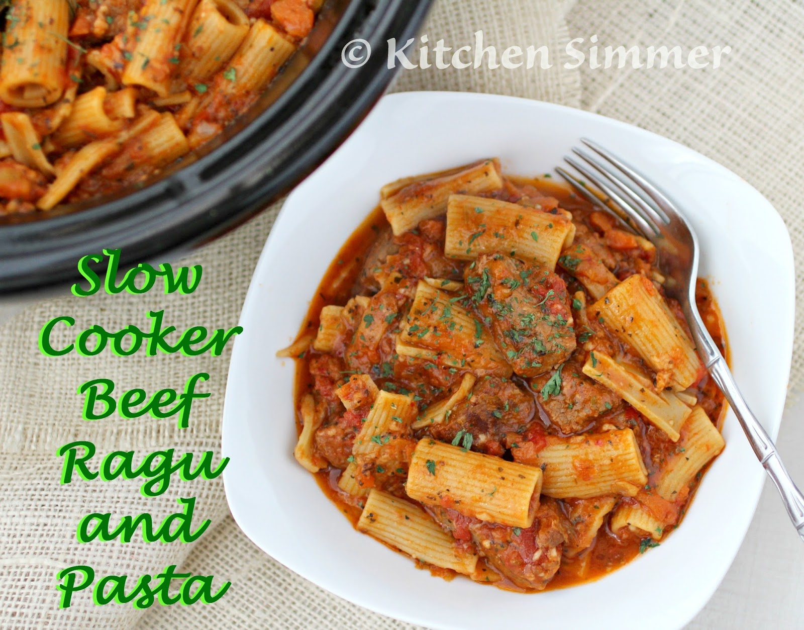 Kitchen SimmerSlow Cooker Beef Ragu and Pasta