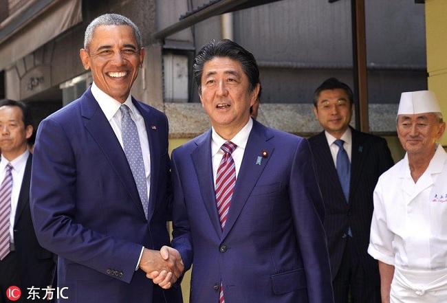 安倍 奥巴马三胖_安倍与奥巴马午餐叙旧 奥巴马再度称赞寿司美味 - 南洋视界