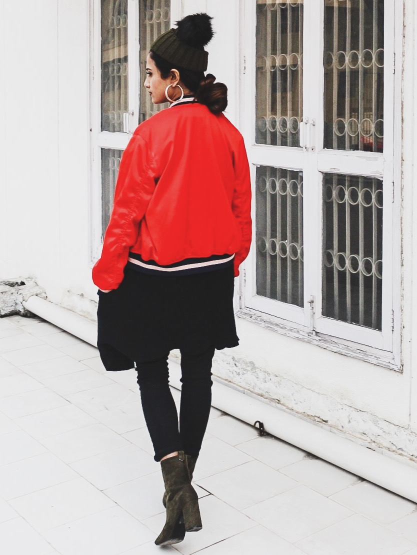 timeless classic, how to make a timeless classic look fresh, classic outfit, red bomber jacket, style bomber jacket, modern classic, colours with black, sock boots, ankle sock boots, khaki ankle boots, style beanie, beanie outfit, belting, top indian blog, uk blog, london blog, indian luxury blog, indian style guru, style ankle boots, quiz clothing, quiz clothing review, quiz clothing shoes, parisian chic, parisian look, effortless chic, top street style, blogger outfit, 2016 top street style, london street style, uk street style, indian street style, winter fashion, 2016 winter style, wear a vest, wear a gillet, black outfit ideas, bright in winter,