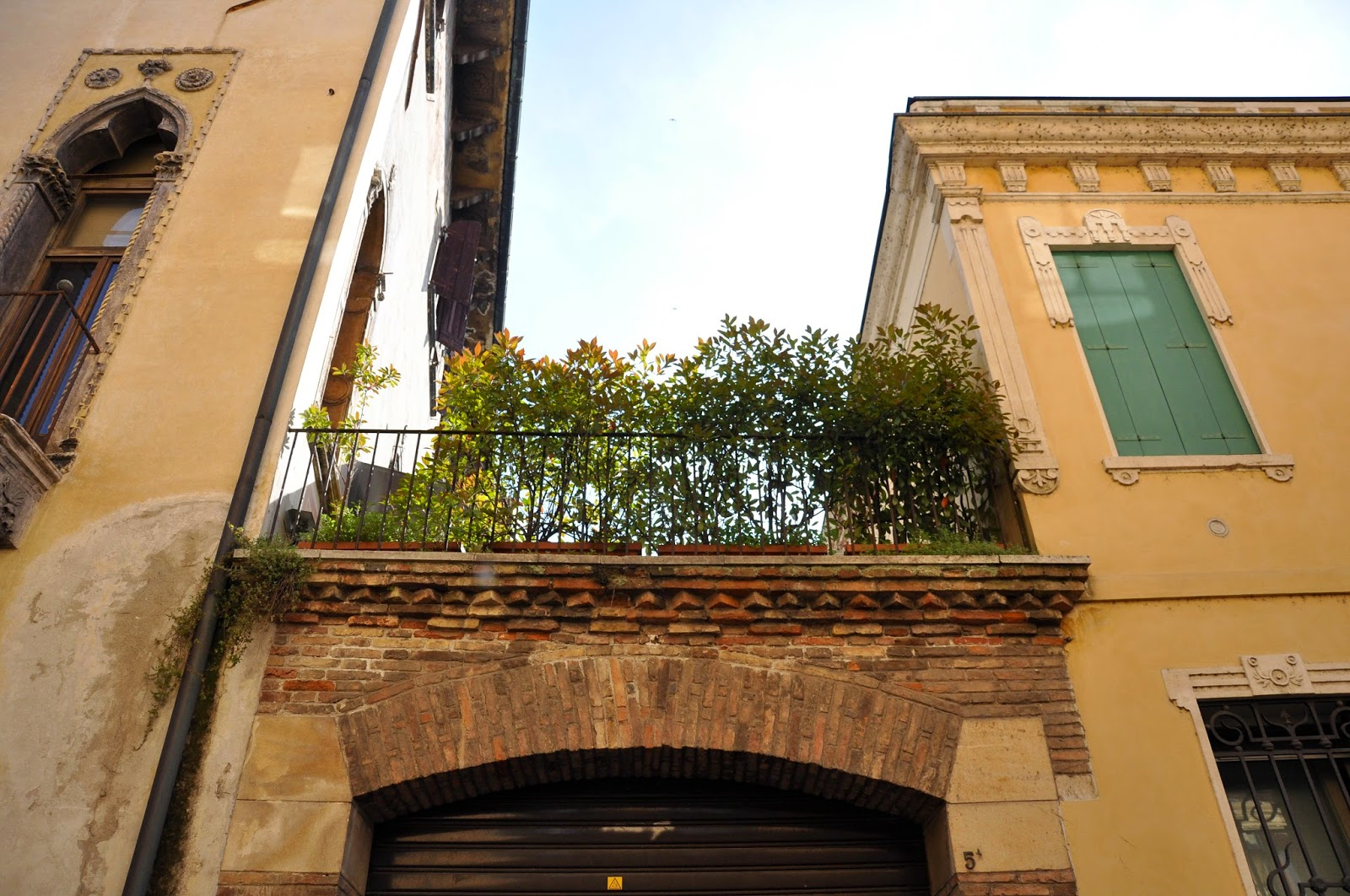 A private garden above a garage in Vicenza, Italy