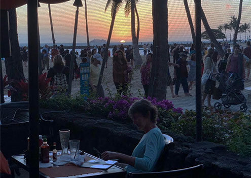 Sunset from the bar along Waikiki Beach (Source: Palmia Observatory)