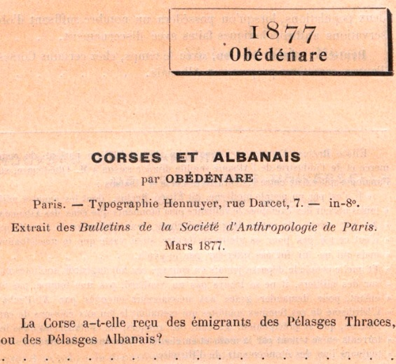 Does Corsicans and Albanians have the same origin - 1877 writing