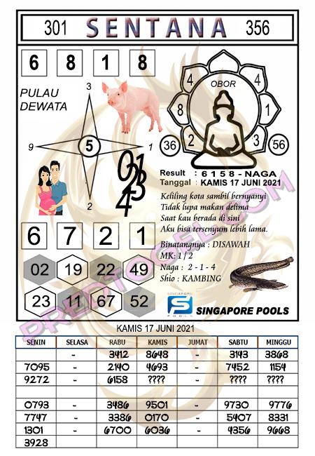 Syair Sentana Singapura kamis 17-juni-2021