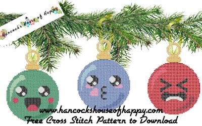 kawaii cross stitch christmas tree decorations