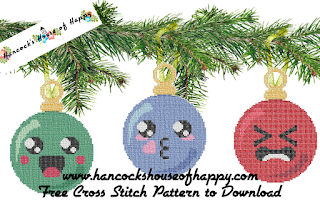 three kawaii Christmas baubles cross stitch patterns
