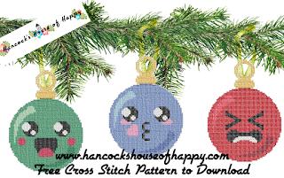 three kawaii Christmas baubles cross stitch patterns