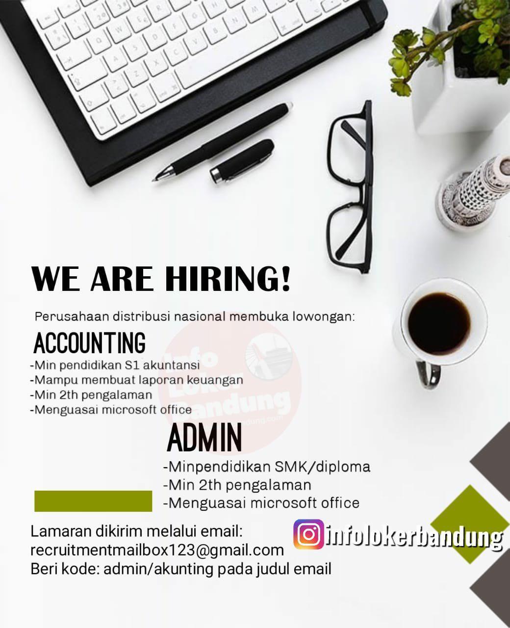 Lowongan Kerja Akunting & Admin Perusahaan Distribusi Nasional Bandung Agustus 2019