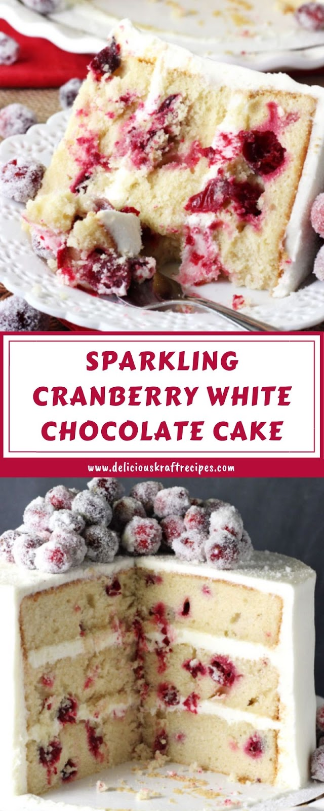 SPARKLING CRANBERRY WHITE CHOCOLATE CAKE