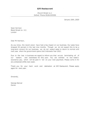 Termination Letter Sample for Efficiency