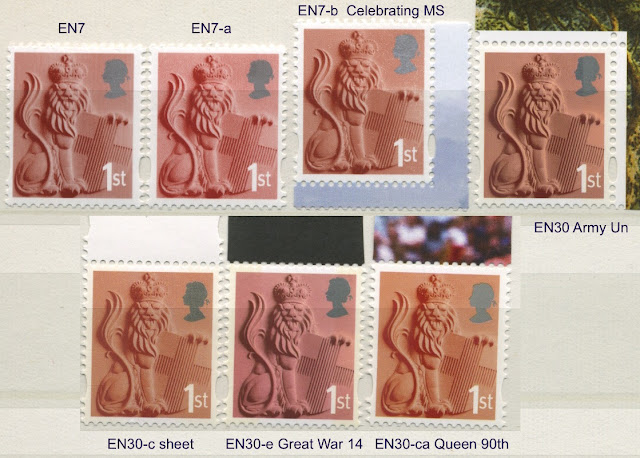 England 1st class Lion stamps - 7 different.