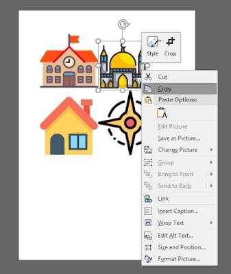 Copy gambar icon di Word