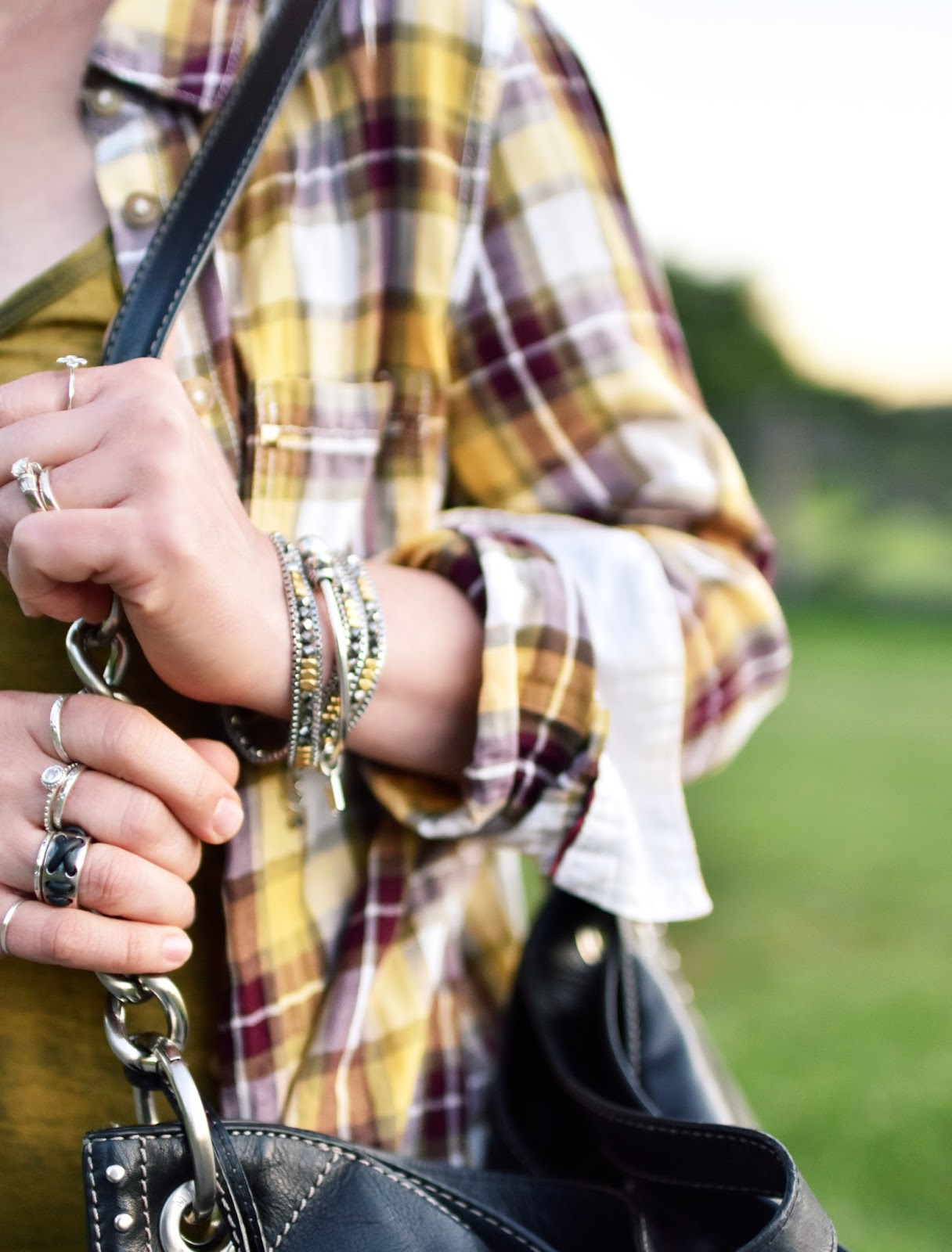 plaid shirt, Stella & Dot wrap bracelet