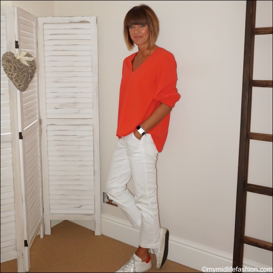 my midlife fashion, Tibi v neck blouse, j crew cropped white jeans, golden goose superstar low top leather trainers