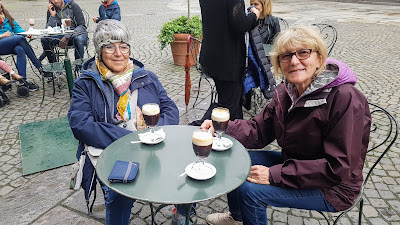 Our friend Giuliana who lives in Turin and Liz enjoying a Bicerin
