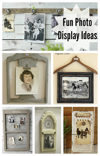 Fun & Inexpensive Farmhouse Style Photo Display Ideas #upcycle #repurpose #photodisplay #photodisplayideas #thriftshopmakeover #thriftshopfinds #garagesalefinds