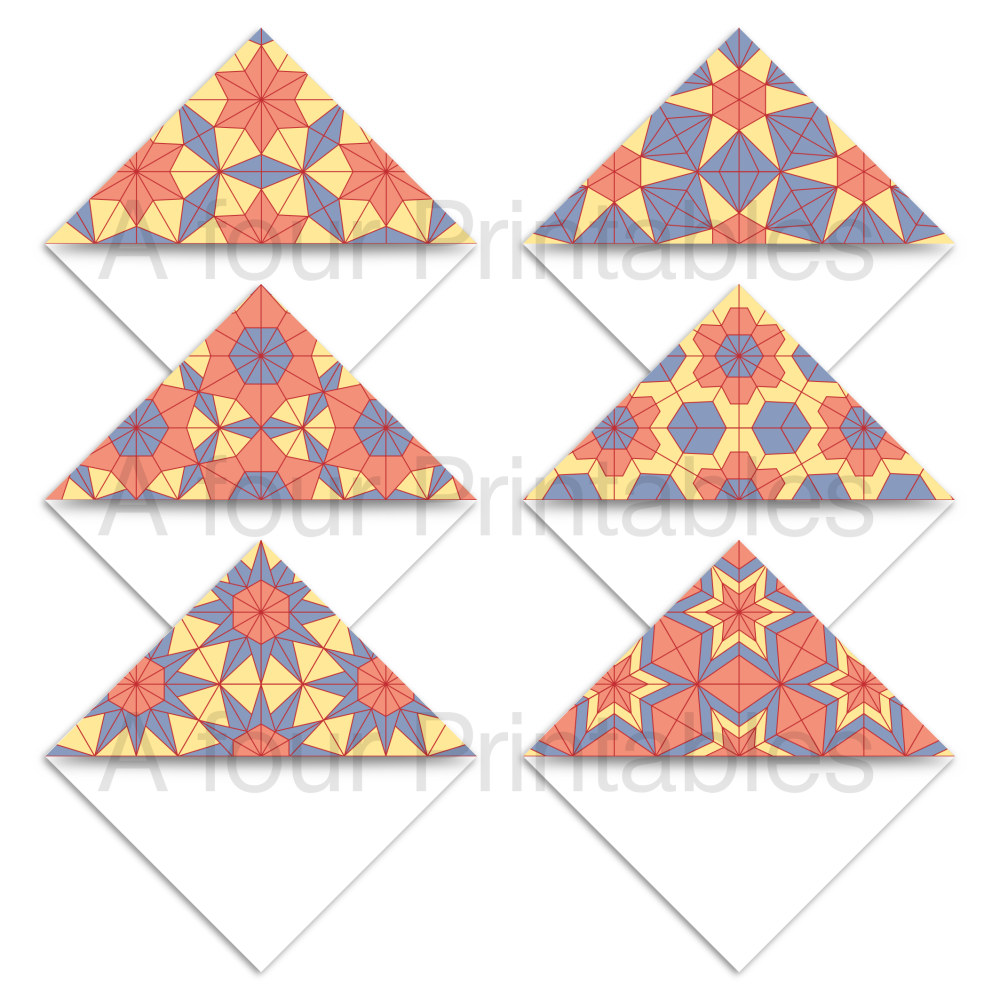 Set of six geometric hexagons pattern set 1 bookmark corner page markers.