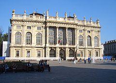 The facade of the Palazzo Madama, which  was designed by Filippo Juvara