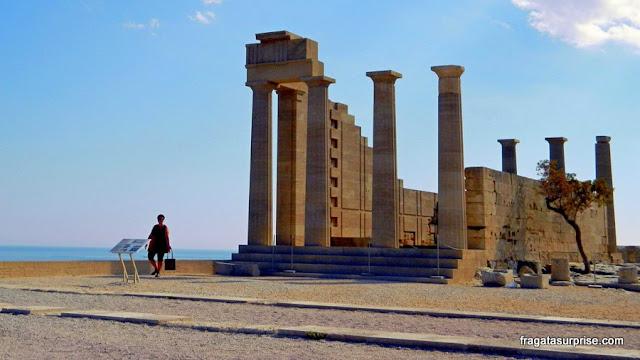 Templo de Atena na Acrópole de Lindos, Ilha de Rodes, Grécia
