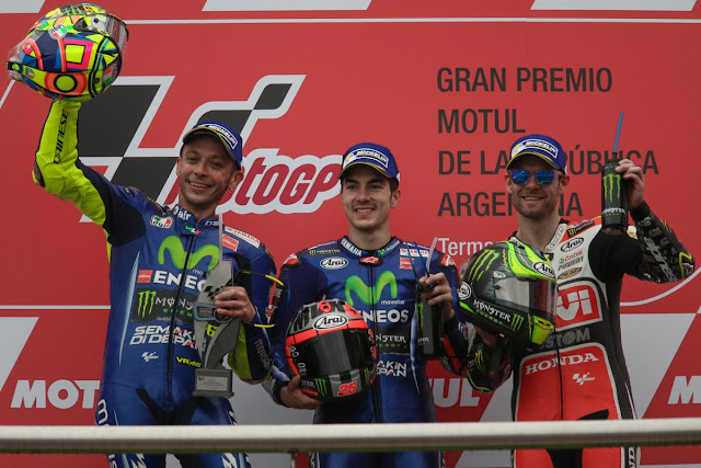 Rossi Start No.7 Finish No.2, Marquez Terjatuh, Vinales No.1 di GP Argentina 2017