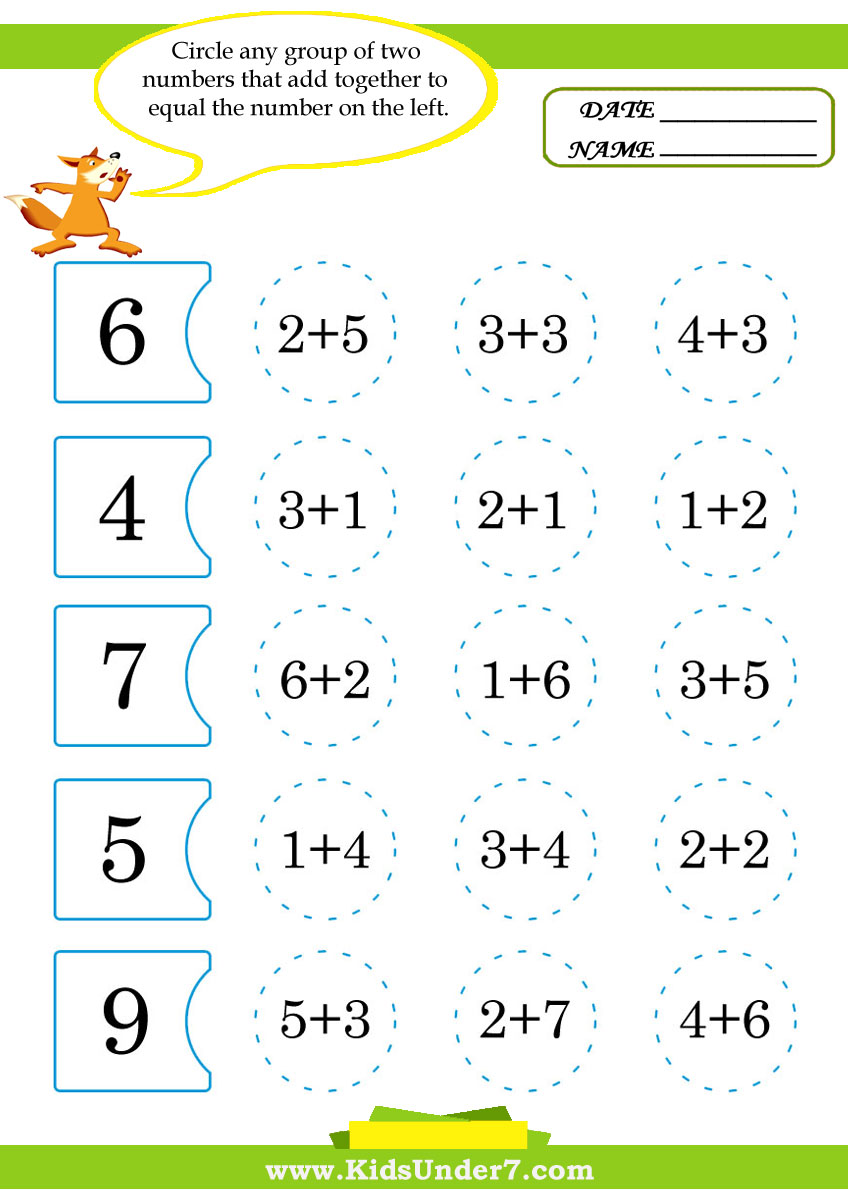 Worksheets Addition For Kids kids under 7 math worksheets for addition subtraction