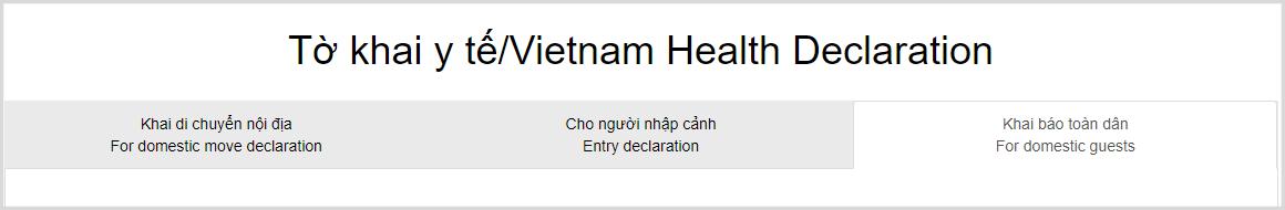 Lựa chọn loại khai báo y tế