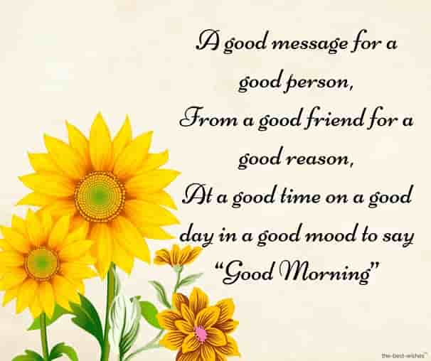 good morning sms for best friend with sunflower