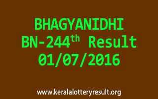 BHAGYANIDHI Lottery BN 244 Results 1-7-2016