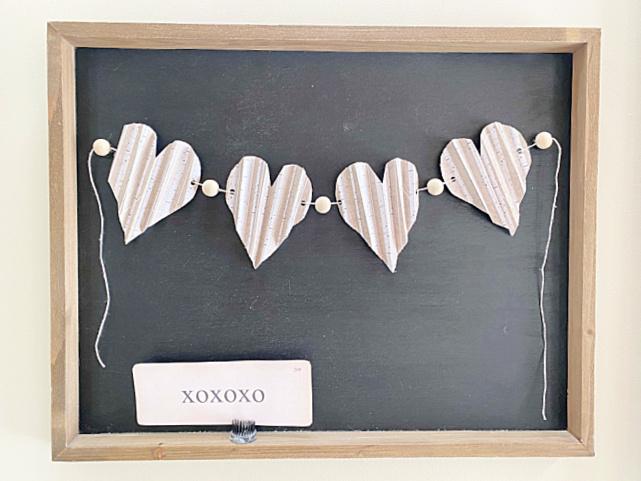 Heart garland on chalkboard with flashcard