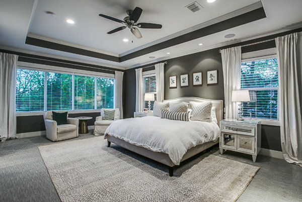 bedroom with Sherwin Williams Peppercorn walls