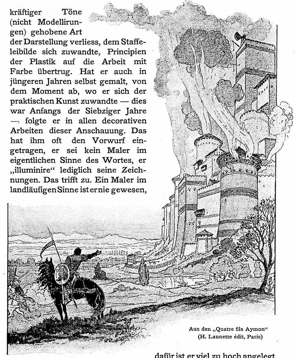 an 1898 Eugene Grasset illustration, Aus den Quatre fils Aymon