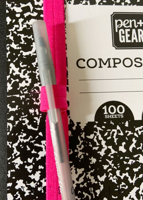 DIY Pen Holder for Journal - place around the cover of the composition book