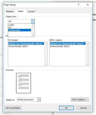 membuat ukuran kertas Folio/HVS/F4