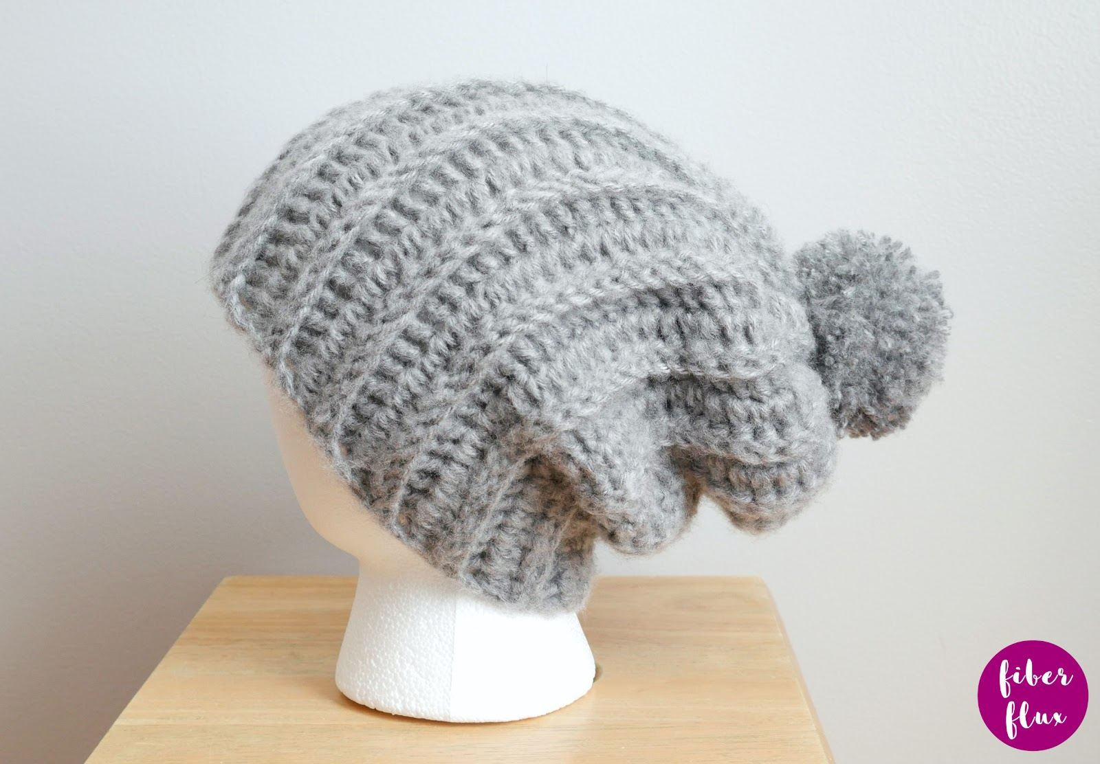 Fiber Flux Easy Beginner Ribbed Pom Hat Free Crochet Pattern Video