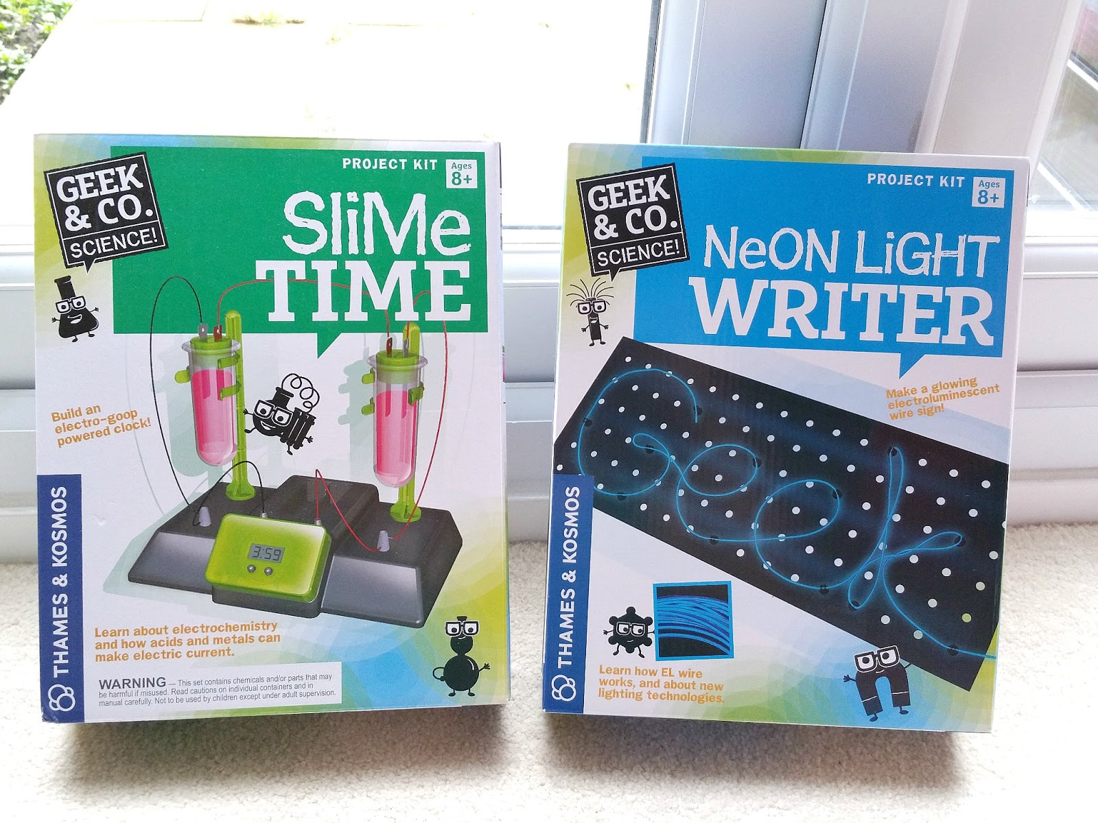 Thames and Kosmos STEM kits, Neon Light Writer, Slime Time
