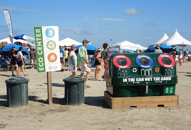 "RECYCLING ECO CENTER ON THE BEACH: ""IN THE CAN NOT THE SAND"""