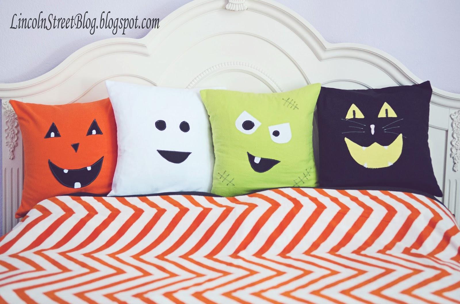 Flannel Halloween Face Pillows - Eighteen25