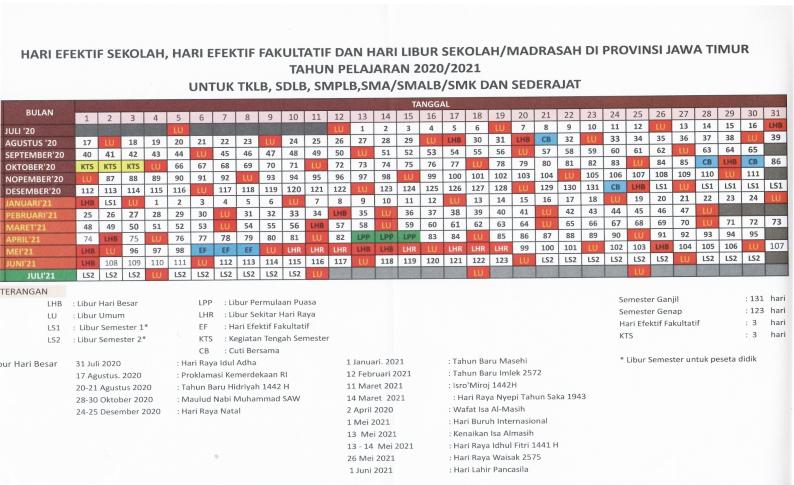 Download Kalender Pendidikan 2020/2021 Jawa Timur - Pos ...