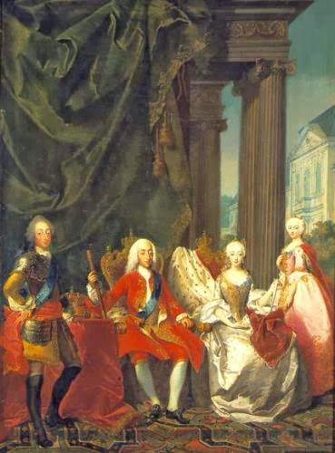 King Christian VI with his family by Carl Marcus Tuscher, 1744