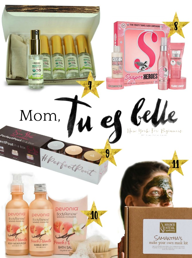 a magazine spread of mothers day gift ideas under 50 dollars including aromatherapy sprays, sara happ perfect pout kit and a DIY mask kit