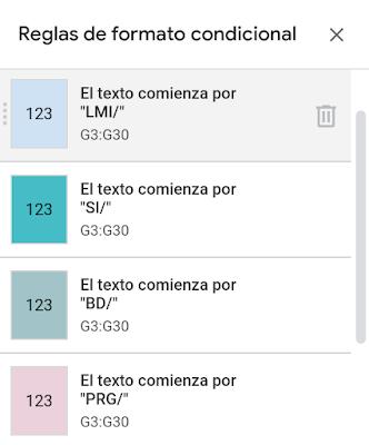 Reglas de formato condicional para colorear las celdas en función del nombre del módulo.