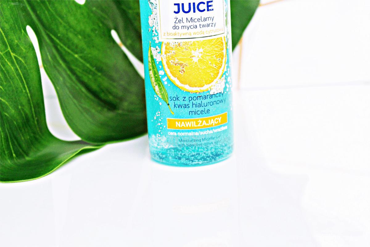 Bielenda Fresh Juice Nawilżający żel micelarny do mycia twarzy pomarańcza.