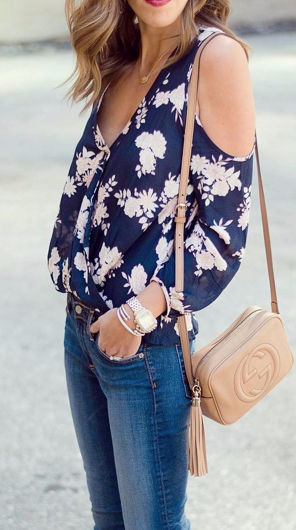 Navy + blush floral | spring basics