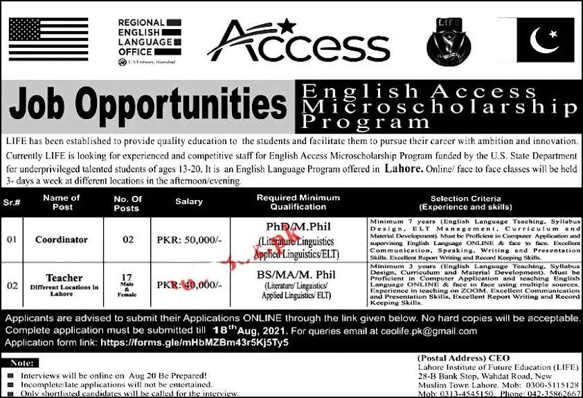 Latest Jobs in Lahore Institute of Future Education LIFE 2021